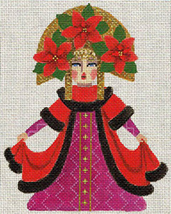 Leigh Designs - Hand-painted Needlepoint Canvases - Winter Maidens - Pretty Poinsettia