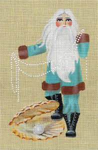 Leigh Designs - Hand-painted Needlepoint Canvases - Seashore Santa - Oyster Bay Santa