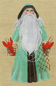 Leigh Designs - Hand-painted Needlepoint Canvases - Seashore Santa - Lobster Bisque Santa