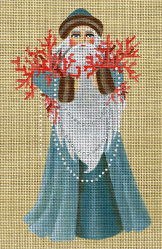 Leigh Designs - Hand-painted Needlepoint Canvases - Seashore Santa - Coral Reef Santa