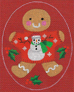 Leigh Designs - Hand-painted Needlepoint Canvases - Ginger Breads - Ginger Snowman