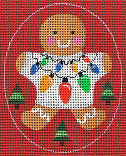 Leigh Designs - Hand-painted Needlepoint Canvases - Ginger Breads - Ginger Lights