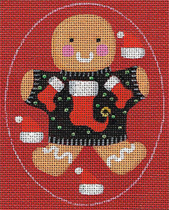 Leigh Designs - Hand-painted Needlepoint Canvases - Ginger Breads - Ginger Stocking