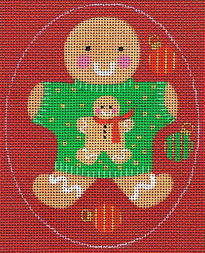 Leigh Designs - Hand-painted Needlepoint Canvases - Ginger Breads - Ginger Boy