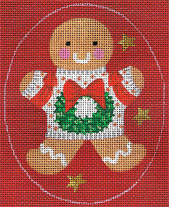 Leigh Designs - Hand-painted Needlepoint Canvases - Ginger Breads - Ginger Wreath