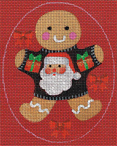 Leigh Designs - Hand-painted Needlepoint Canvases - Ginger Breads - Ginger Santa