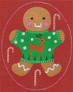 Leigh Designs - Hand-painted Needlepoint Canvases - Ginger Breads - Ginger Rudolph