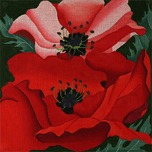 Giant Poppies - Hand Painted Needlepoint Canvas from dede's Needleworks