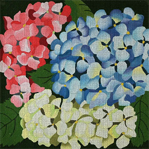 Giant Hydrangeas - Hand Painted Needlepoint Canvas from dede's Needleworks