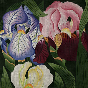 Giant Iris - Hand Painted Needlepoint Canvas from dede's Needleworks