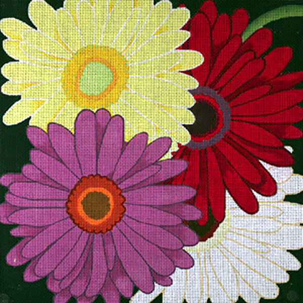 Giant Gerber Daisies - Hand Painted Needlepoint Canvas from dede's Needleworks