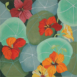 Giant Nasturtium - Hand Painted Needlepoint Canvas from dede's Needleworks