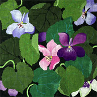 Giant Violets - Hand Painted Needlepoint Canvas from dede's Needleworks