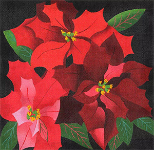 Giant Poinsettias - Hand Painted Needlepoint Canvas from dede's Needleworks