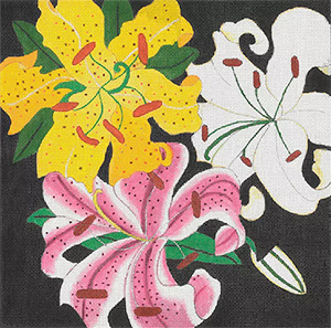 Giant Lilies - Hand Painted Needlepoint Canvas from dede's Needleworks