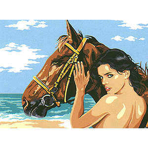 "SEG Medium Needlepoint Canvas ""A l'oreille du cheval"""