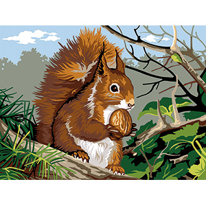 SEG de Paris Needlepoint - Medium Needlepoint Canvases - L'ecureuil Canvas (The Squirrel)