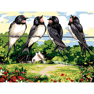 SEG de Paris Needlepoint - Medium Needlepoint Canvases - Les Hirondelles (The Swallows)