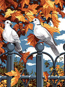 SEG de Paris Needlepoint - Medium Needlepoint Canvases - Automne et fer Forge (Autumn on the Iron Fence)