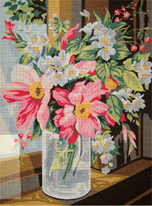 SEG de Paris Needlepoint - Medium Needlepoint Canvases - Bocal de Fleurs