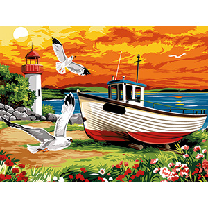 SEG de Paris Needlepoint - Medium Needlepoint Canvases - Les Mouettes (Seagulls)