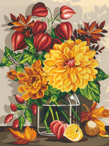 SEG de Paris Needlepoint - Medium Needlepoint Canvases - Boquet D'Automne (Autumn Bouquet)