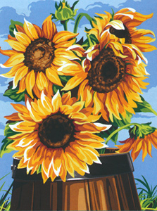 SEG de Paris Needlepoint - Medium Needlepoint Canvases - Le Tonneau aux Tournesols (Sunflowers)