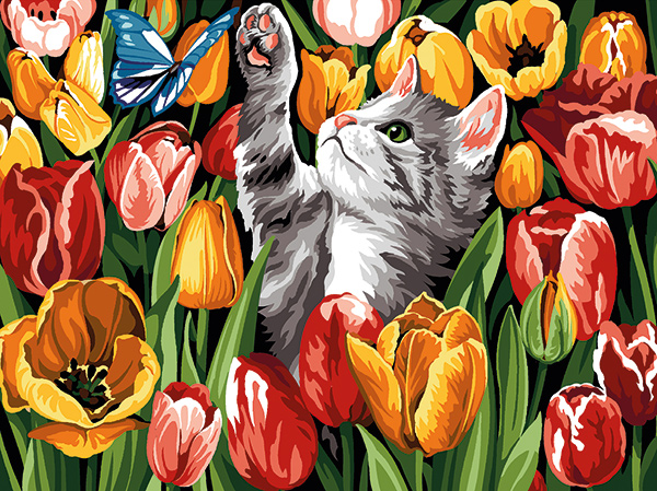 SEG de Paris Needlepoint - Kitten and Butterfly in Tulips