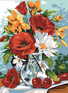 SEG de Paris Needlepoint - Verrinede Printemps (Spring Verrine, Poppies and Cherries)