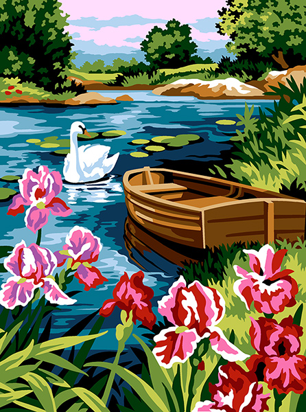 SEG de Paris Needlepoint - Irises on the Lake