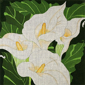 Giant Calla Lilies - Hand Painted Needlepoint Canvas from dede's Needleworks