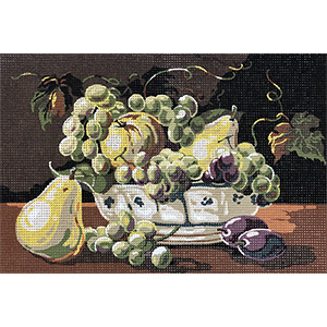 SEG de Paris Needlepoint - Still Life with Grapes, Pears, and Oliives