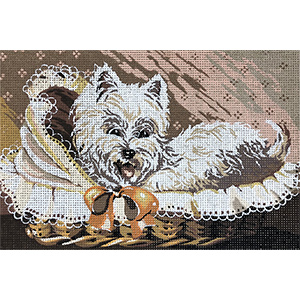 SEG de Paris Needlepoint - Westie in a Basket