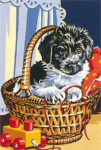 SEG de Paris Needlepoint - Puppy in a Basket