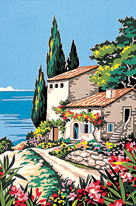 SEG de Paris Needlepoint - Small Needlepoint Canvases - Seaside Villa Canvas