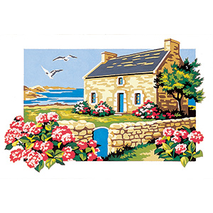 SEG de Paris Needlepoint - Small Needlepoint Canvases - Seaside Cottage Canvas