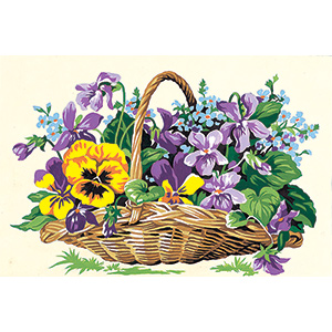 SEG de Paris Needlepoint - Small Needlepoint Canvases - Basket of Flowers Canvas