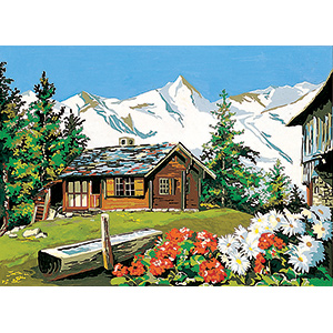 SEG de Paris Needlepoint - Medium Needlepoint Canvases - A la Montagne (On the Mountain) Canvas