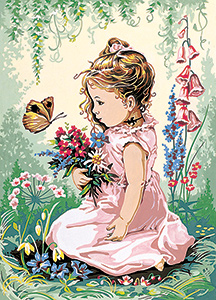SEG de Paris Needlepoint - Medium Needlepoint Canvases - Elise et le Papillon (Elise and the Butterfly) Canvas