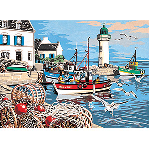 SEG de Paris Needlepoint - Medium Needlepoint Canvases - Le Port de Peche (The Fish Port) Canvas