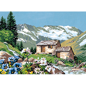 SEG de Paris Needlepoint - Medium Needlepoint Canvases - L'Alpage Fleuri (Mountain Pasture Flowers) Canvas