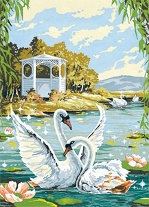 SEG de Paris Needlepoint - Jeux de Cygnes (Set of Swans) Medium Needlepoint Canvas