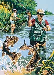 SEG de Paris Needlepoint - Carnet de Peche (Sport of Fishing) Canvas