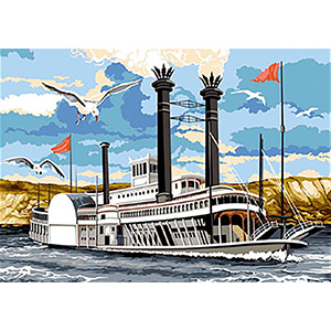 SEG de Paris Needlepoint - Medium Needlepoint Canvases - Mississippi River Boat