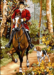 SEG de Paris Needlepoint - Medium Needlepoint Canvases - Chasse a Courre (Hunting with Hounds)