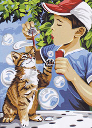SEG de Paris Needlepoint - Medium Needlepoint Canvases - La Chasse aux Bulles (Chasing Bubbles)