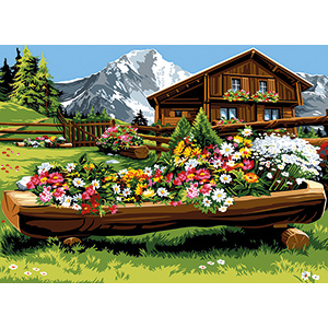SEG de Paris Needlepoint - Medium Needlepoint Canvases - L'enclos du Chalet (Chalet Fence)