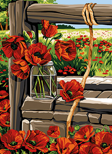 SEG de Paris Needlepoint - Medium Needlepoint Canvases - Le Vieux Puits Aux Coquelicots (View Through the Poppies)
