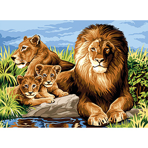SEG de Paris Needlepoint - Lion Family (Canevas la Famille)