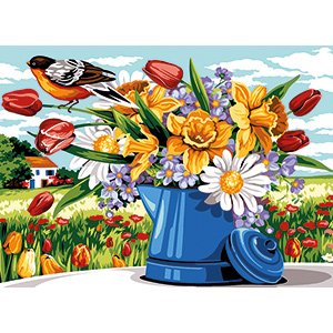 SEG de Paris Needlepoint - Medium Needlepoint Canvases - Watering Can Bouquet